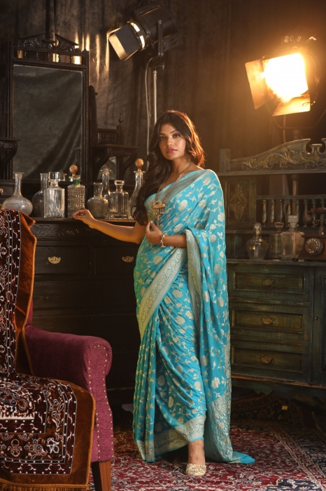 Turquoise Blue Colour Pure Silk Chiffon Saree With Zari Work 1