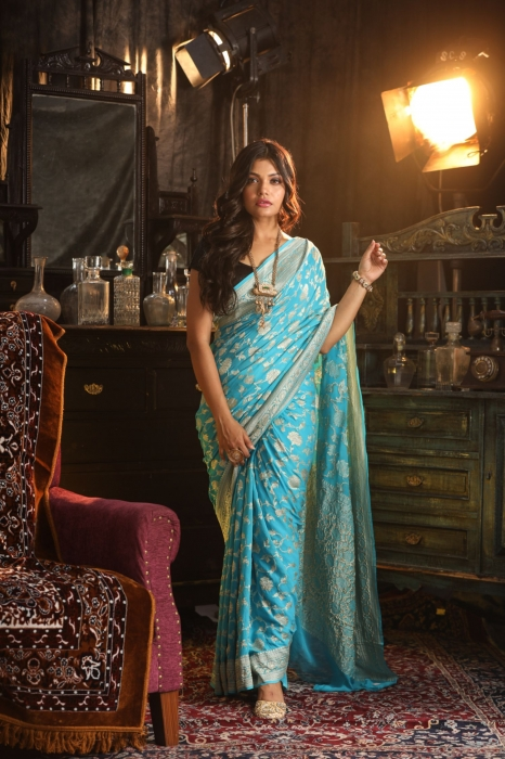 Turquoise Blue Colour Pure Silk Chiffon Saree With Zari Work 0