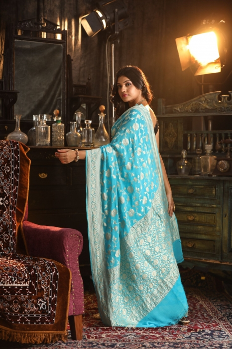 Turquoise Blue Colour Pure Silk Chiffon Saree With Zari Work 2