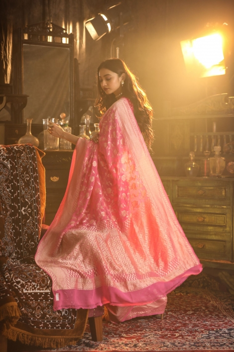 Pink Colour Pure Silk Chiffon Saree With Floral Work 2