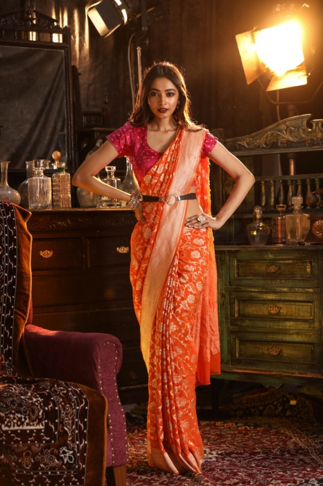 Orange Colour Pure Silk Chiffon Saree With Zari Work