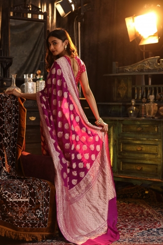 Purple Colour Pure Silk Chiffon Saree With Floral Work 2