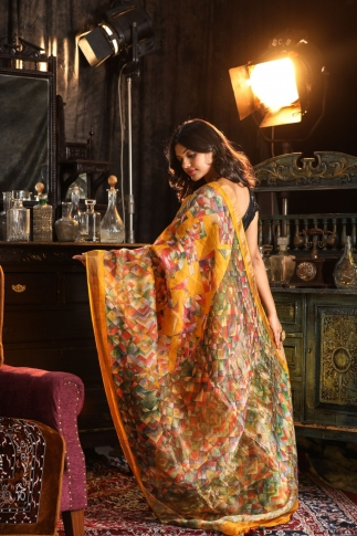 Fine quality Silk Linen Digital Print Saree 2