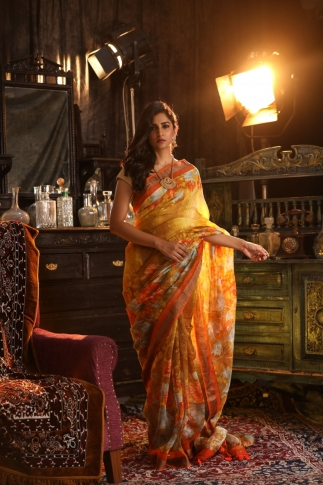 Fine Silk Linen Multicolour Digital Print Saree
