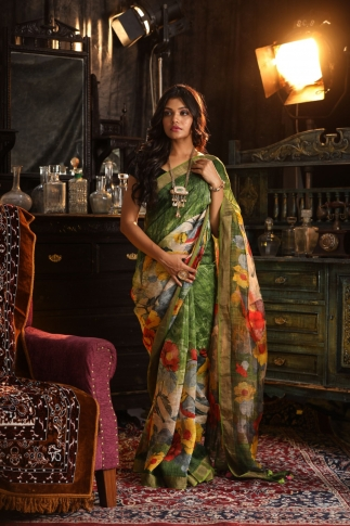 Fine Quality Silk Linen Green With Multicolour Digital Print Saree