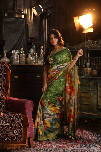 Fine Quality Silk Linen Green With Multicolour Digital Print Saree 1