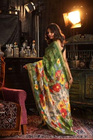 Fine Quality Silk Linen Green With Multicolour Digital Print Saree 2
