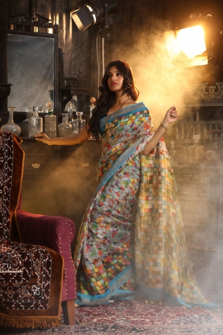 Fine Quality Silk Linen Multicolour Digital Print Saree 1