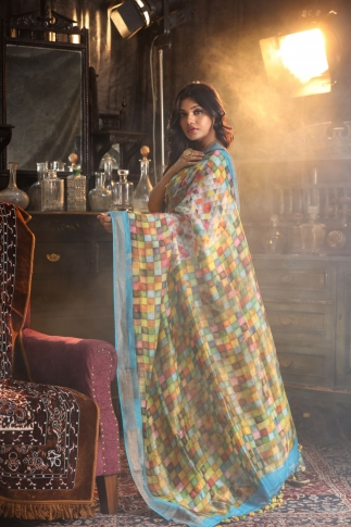 Fine Quality Silk Linen Multicolour Digital Print Saree 2