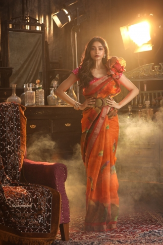 Fine Quality Silk Linen Orange With Digital Print Saree