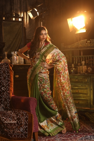 Fine Quality Silk Linen Cream With Multicolour Digital Print Saree