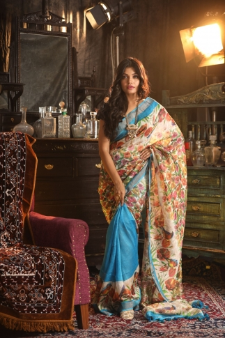 Fine Quality Silk Linen Turquoise Blue With Multicolour Digital Print Saree