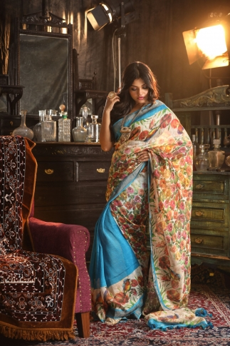 Fine Quality Silk Linen Turquoise Blue With Multicolour Digital Print Saree 1