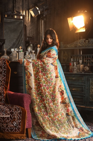 Fine Quality Silk Linen Turquoise Blue With Multicolour Digital Print Saree 2
