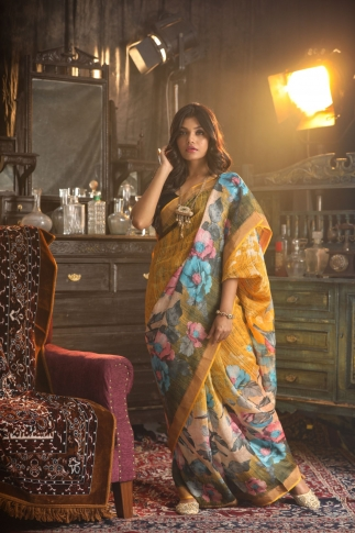 Fine Quality Silk Linen Mustered With Multicolour Digital Print Saree