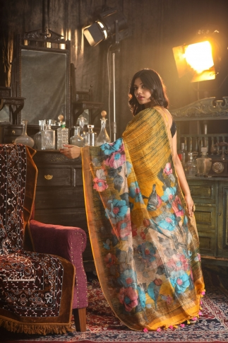 Fine Quality Silk Linen Mustered With Multicolour Digital Print Saree 2