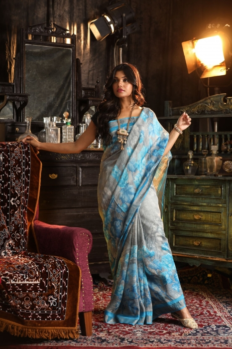 Fine Quality Silk Linen Grey With Multicolour Digital Print Saree