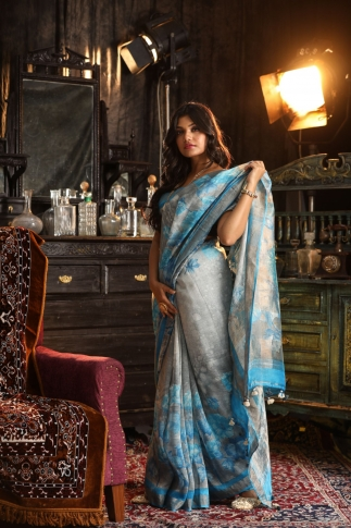 Fine Quality Silk Linen Grey With Multicolour Digital Print Saree 1