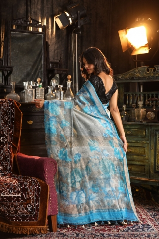 Fine Quality Silk Linen Grey With Multicolour Digital Print Saree 2