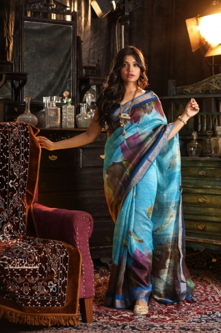 Fine Quality Silk Linen Sky Blue With Multicolour Digital Print Saree