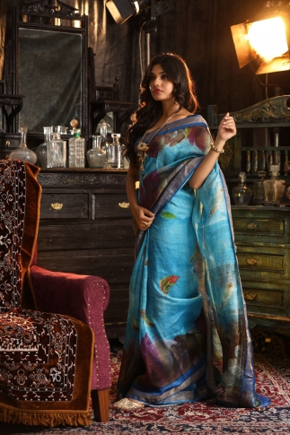 Fine Quality Silk Linen Sky Blue With Multicolour Digital Print Saree 1
