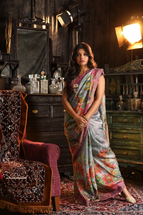 Fine Quality Silk Linen Grey Multicolour Digital Print Saree