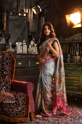 Fine Quality Silk Linen Grey Multicolour Digital Print Saree 1