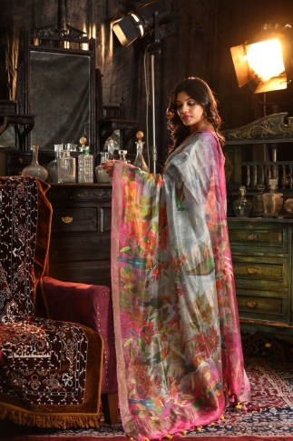 Fine Quality Silk Linen Grey Multicolour Digital Print Saree 2