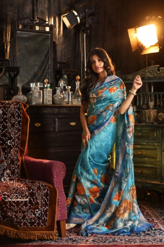 Fine Quality Silk Linen Blue Multicolour Digital Print Saree 1