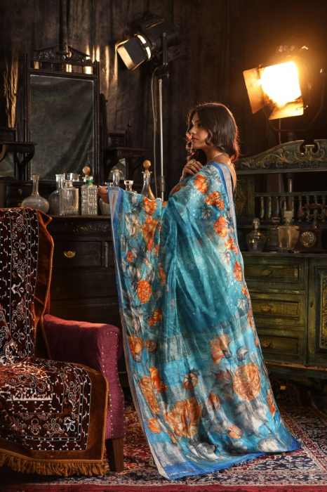 Fine Quality Silk Linen Blue Multicolour Digital Print Saree 2