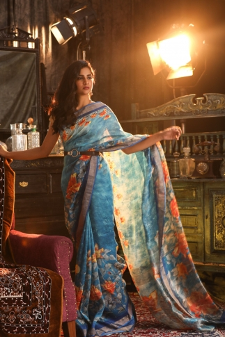 Fine Quality Silk Linen Royal Blue With Multicolour Digital Print Saree