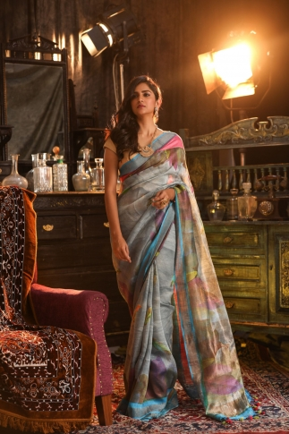 Fine Quality Silk Linen Light Blue With Multicolour Digital Print Saree