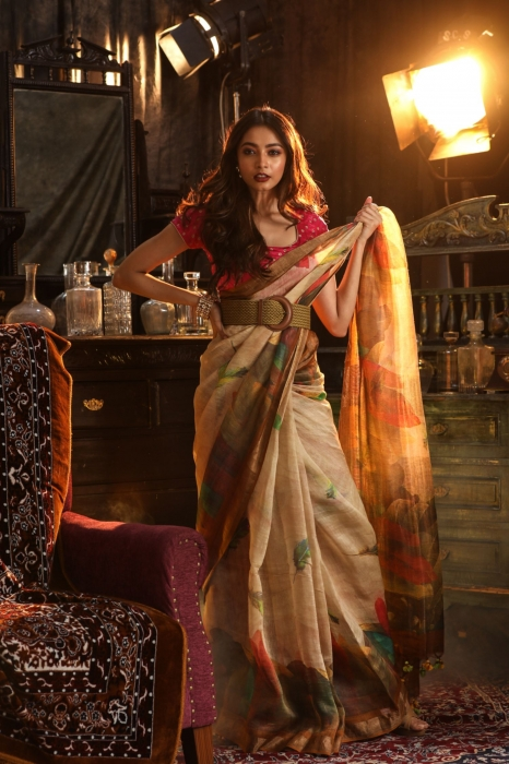 Fine Quality Silk Linen Beige With Multicolour Digital Print Saree 0