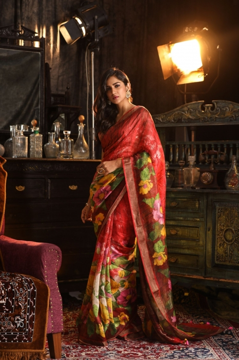 Fine Quality Silk Linen Red With Multicolour Digital Print Saree