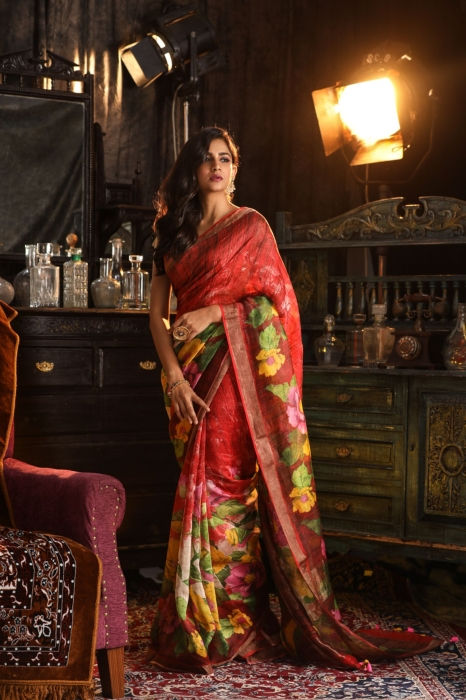Fine Quality Silk Linen Red With Multicolour Digital Print Saree 1