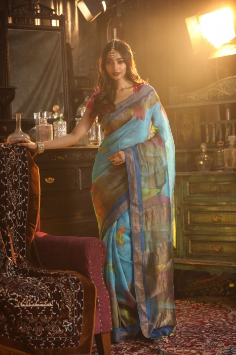 Fine Quality Blue With Multicolour Silk Linen Digital Print Saree