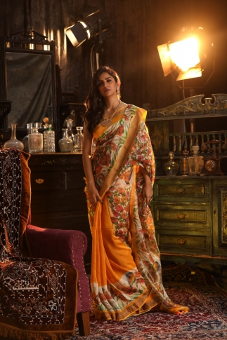 Fine Quality Multicolour Silk Linen Digital Print Saree