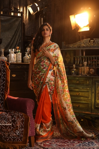 Fine Quality Orange With Multicolour Silk Linen Digital Print Saree