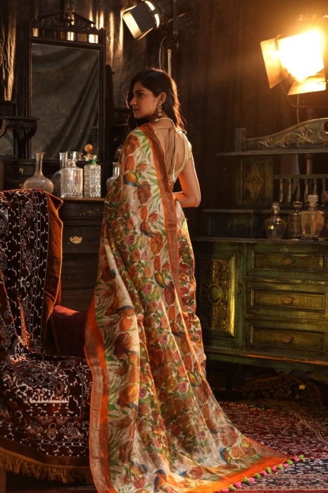 Fine Quality Orange With Multicolour Silk Linen Digital Print Saree 2