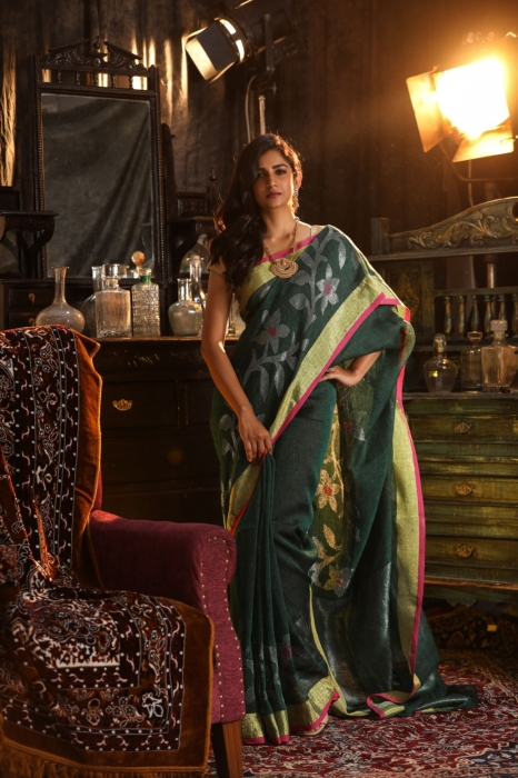 Green designer Hand Woven Linen saree With Blouse fabric