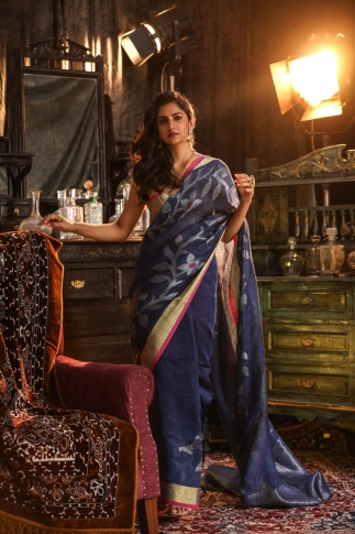 Navy Blue designer Hand Woven Linen saree With Blouse fabric