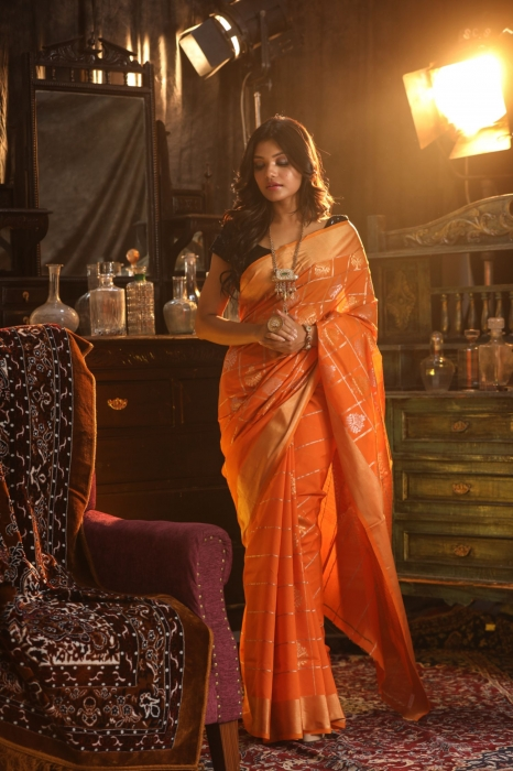 Orange Colour Silk Saree With Zari Work