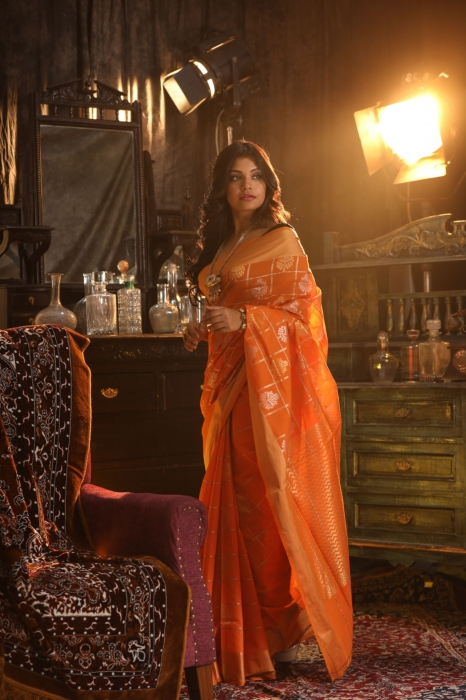 Orange Colour Silk Saree With Zari Work 1