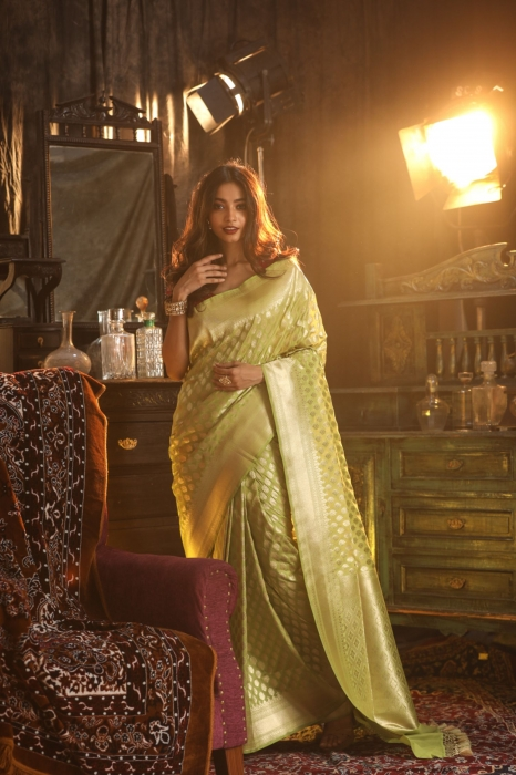 Olive Green Saree With Zari Work