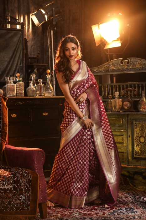 Purple Colour Silk Saree With Floral Work