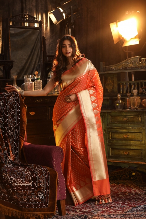 Orange Colour Silk Saree With Floral Work