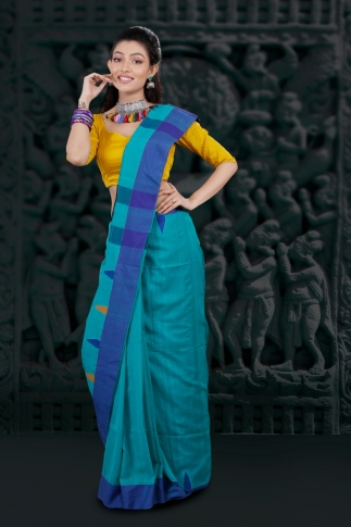Blue Hand Woven Pure Cotton Saree Fabricated on Pure Cotton