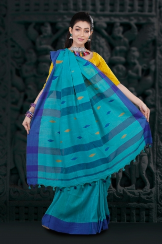Blue Hand Woven Pure Cotton Saree Fabricated on Pure Cotton 2