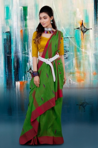 Green and Rani Border Hand Woven Pure Cotton Saree With Blouse Piece