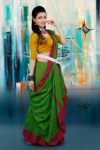 Green and Rani Border Hand Woven Pure Cotton Saree With Blouse Piece 1